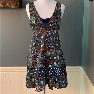 Free People Vintage Boho Mini Dress/Tunic Blue 4